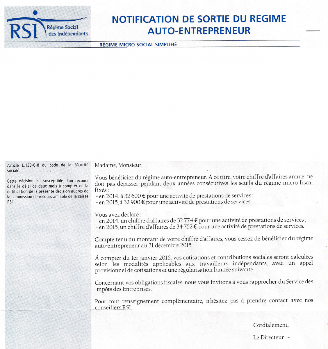 Courrier rsi de notification de changement de r gime for Auto entrepreneur idees qui marchent